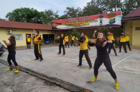 Jaga Kebugaran, Polsek Medan Helvetia Olahraga Senam Aerobik Bersama