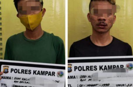 2 Pelaku Narkoba Diciduk Resnarkoba Polres Kampar di Gang Kasturi Bangkinang Kota