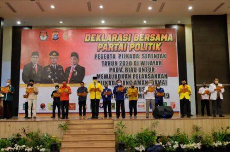 Kapolda Riau Inisiasi Partai Politik Deklarasikan Pilkada Aman dan Damai Ditengah Pandemi Covid-19