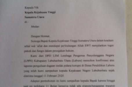 Laporan Tidak Ditanggapi Kajari Labuhanbatu, Ketua LSM LPPN Labura Surati Kejatisu