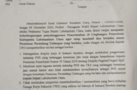 Plt Bupati Labura Keluarkan Surat Edaran Larangan Pergantian TKS