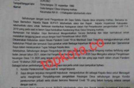 Gunakan Uang Desa, Kades Simpang Marbau Mengundurkan Diri