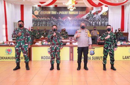 Kapolda Sumut dan Pangdam I/BB Hadiri Rapim TNI-Polri Tahun 2021 Secara Virtual
